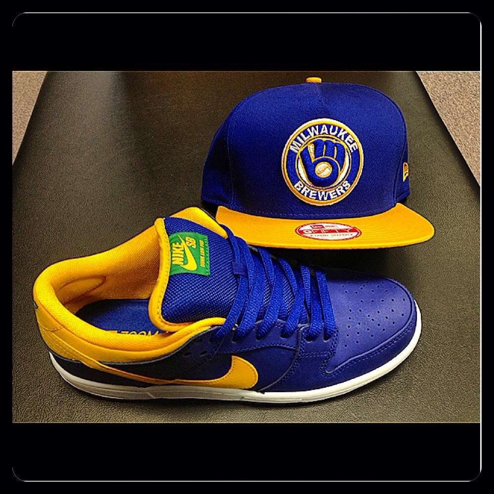 82f10649d7f5ef While supplies last get a free New Era Milwaukee Brewers SnapBack hat when  you buy a pair of Nike SB dunk lows!
